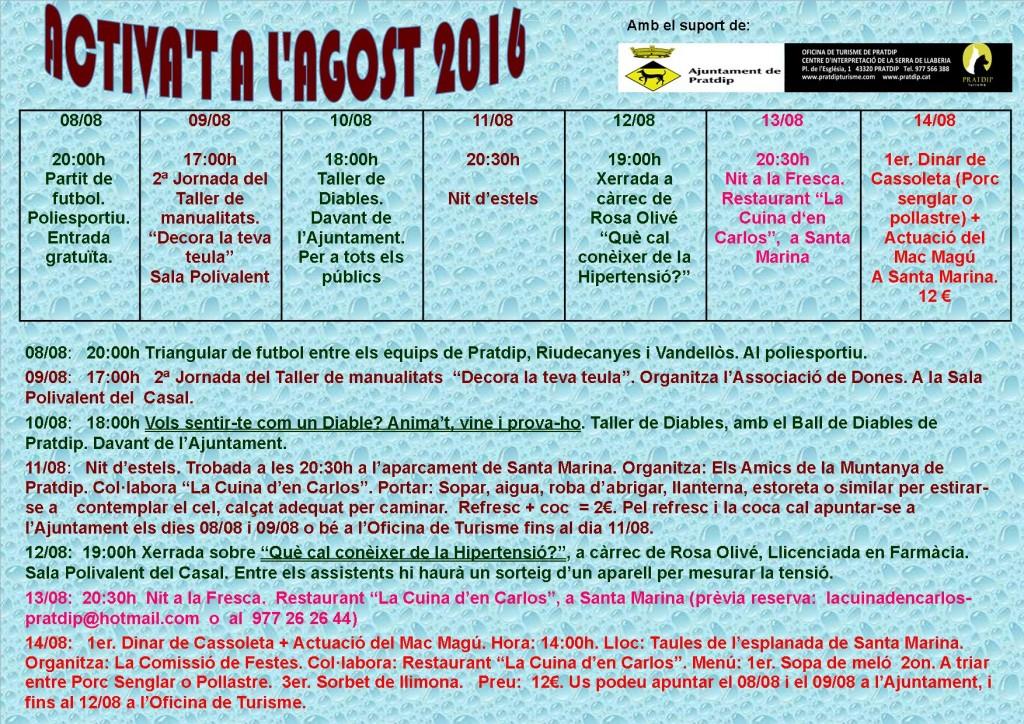 Activa't a l'Agost 2016 - 2ª setmana