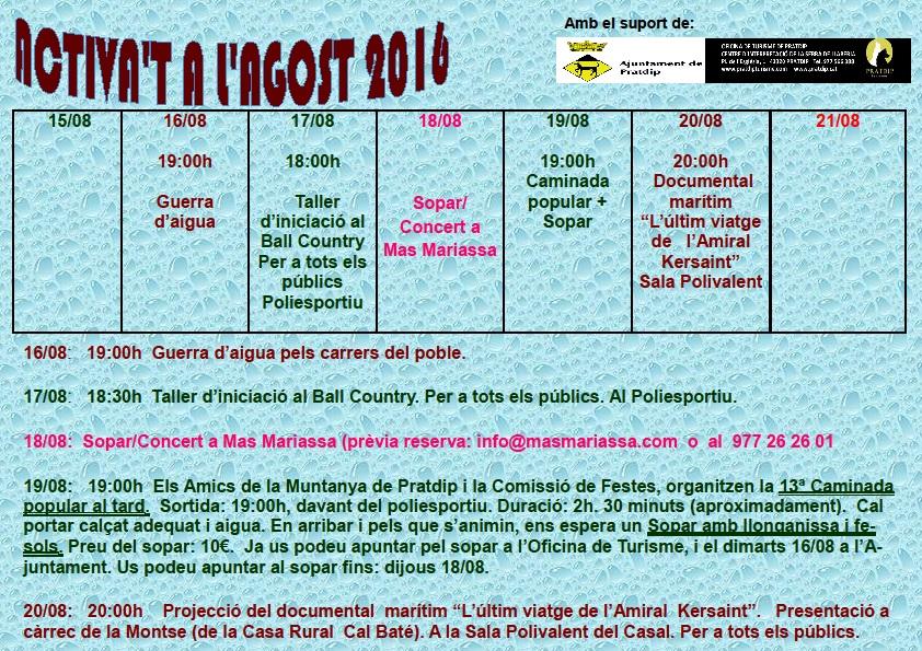 Activa't a l'Agost 2016-3ªsetmana